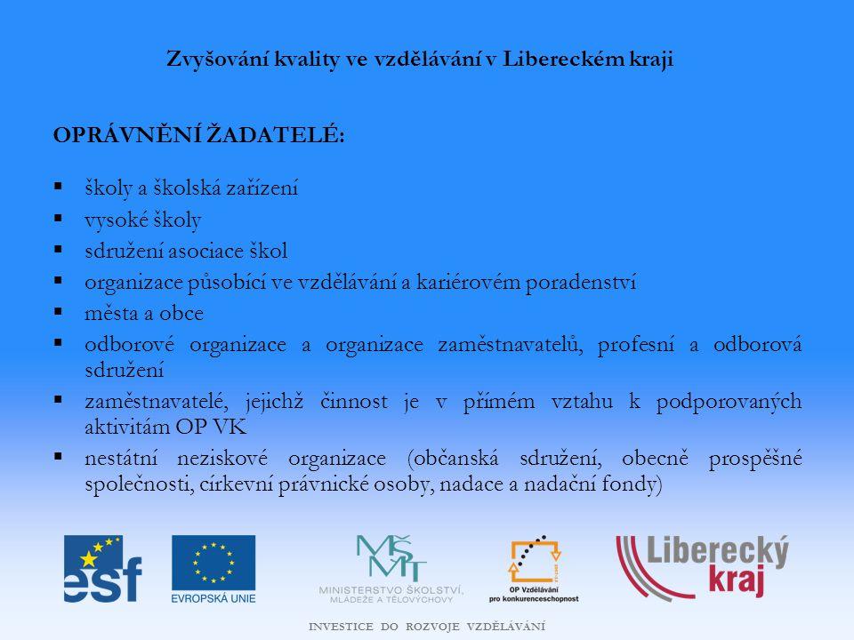 INVESTICE DO ROZVOJE VZDĚLÁVÁNÍ Další vzdělávání pracovníků škol a školských zařízení v Libereckém kraji PODPOROVANÉ AKTIVITY A PŘÍKLADY MOŽNÝCH PROJEKTŮ