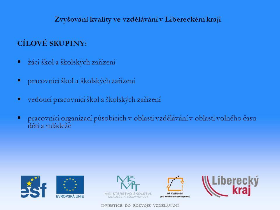 INVESTICE DO ROZVOJE VZDĚLÁVÁNÍ PODPOROVANÉ AKTIVITY A PŘÍKLADY MOŽNÝCH PROJEKTŮ Zvyšování kvality ve vzdělávání v Libereckém kraji