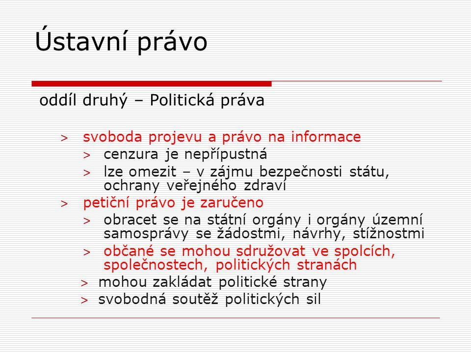 oddíl druhý – Politická práva ˃ svoboda projevu a právo na informace ˃ cenzura je nepřípustná ˃ lze omezit – v zájmu bezpečnosti státu, ochrany veřejn