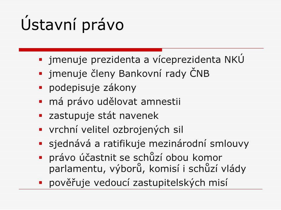  jmenuje prezidenta a víceprezidenta NKÚ  jmenuje členy Bankovní rady ČNB  podepisuje zákony  má právo udělovat amnestii  zastupuje stát navenek