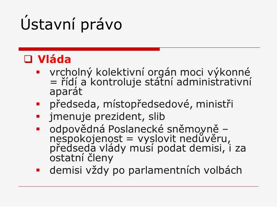  Vláda  vrcholný kolektivní orgán moci výkonné = řídí a kontroluje státní administrativní aparát  předseda, místopředsedové, ministři  jmenuje pre