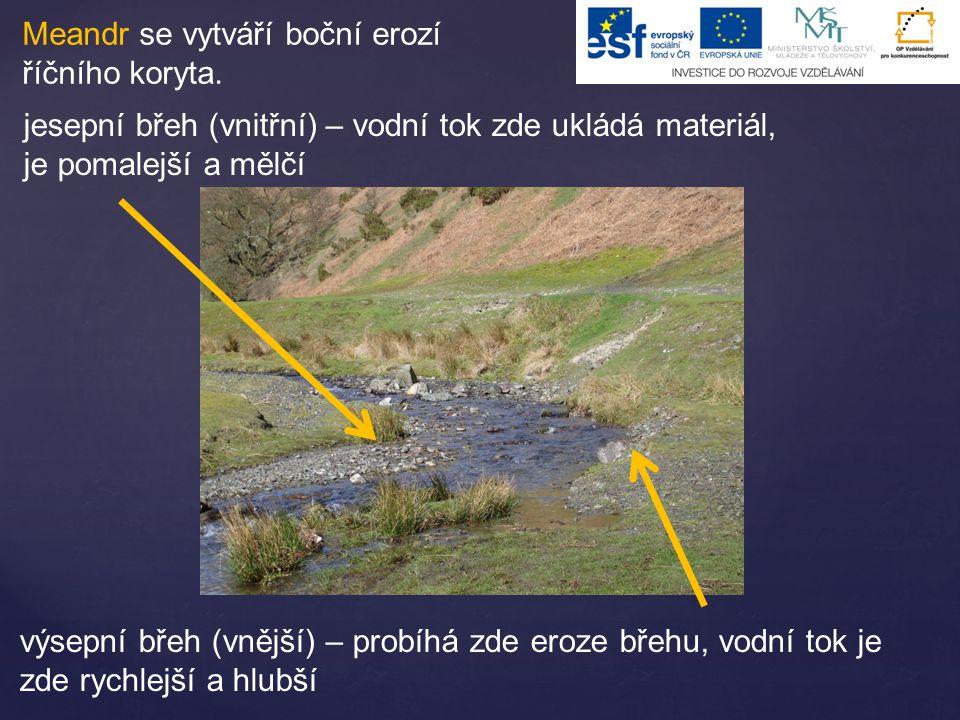 Meandr se vytváří boční erozí říčního koryta. jesepní břeh (vnitřní) – vodní tok zde ukládá materiál, je pomalejší a mělčí výsepní břeh (vnější) – pro