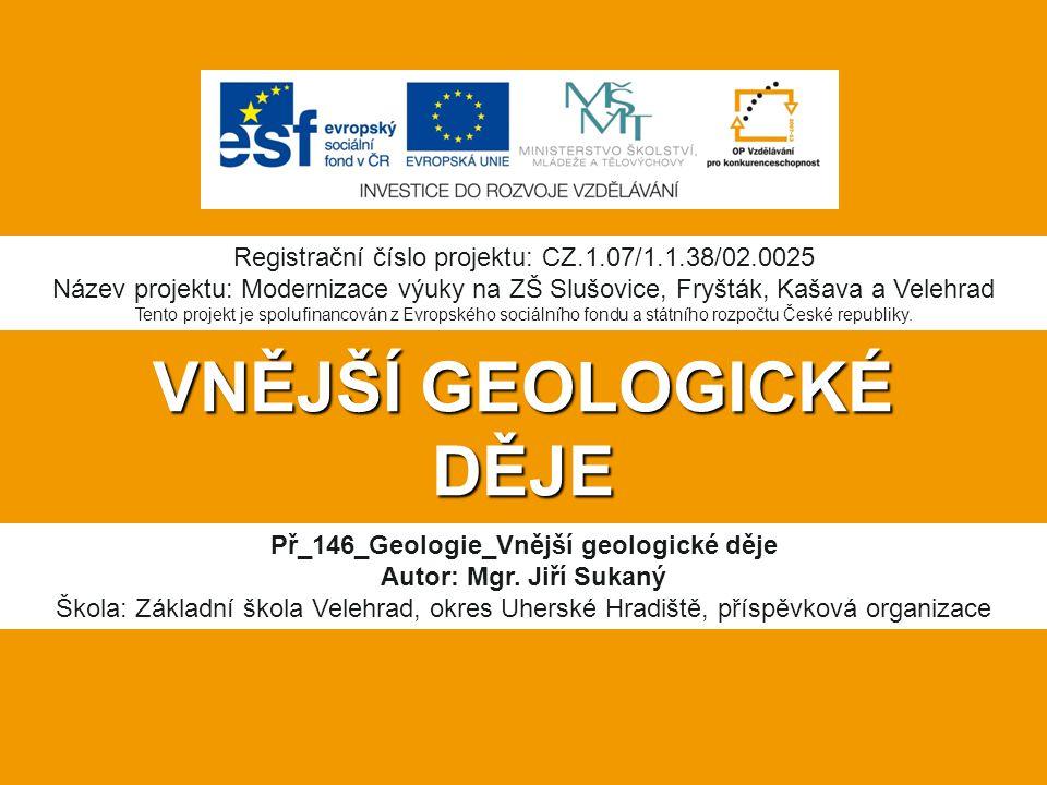 VNĚJŠÍ GEOLOGICKÉ DĚJE Př_146_Geologie_Vnější geologické děje Autor: Mgr.