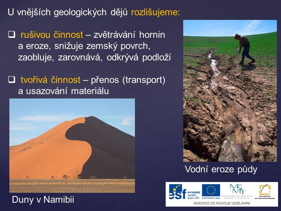 U vnějších geologických dějů rozlišujeme:  rušivou činnost – zvětrávání hornin a eroze, snižuje zemský povrch, zaobluje, zarovnává, odkrývá podloží  tvořivá činnost – přenos (transport) a usazování materiálu Vodní eroze půdy Duny v Namibii