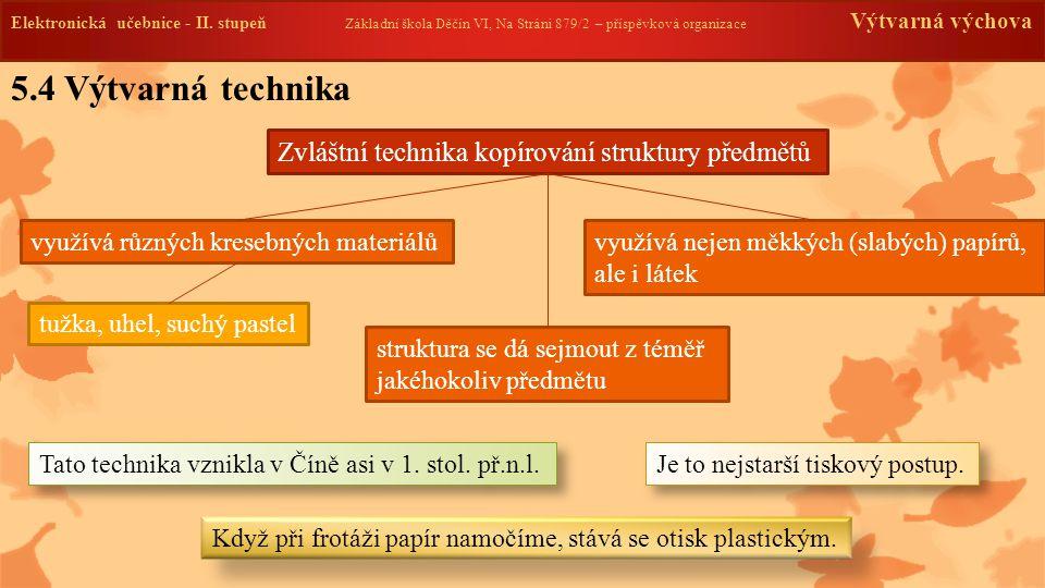 Elektronická učebnice -II. stupeň Základní škola Děčín VI, Na Stráni 879/2 – příspěvková organizace Výtvarná výchova 5.4 Výtvarná technika Zvláštní te