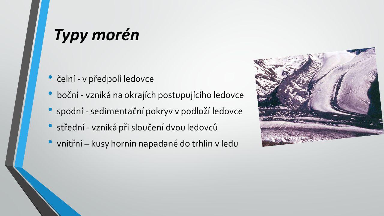 Typy morén čelní - v předpolí ledovce boční - vzniká na okrajích postupujícího ledovce spodní - sedimentační pokryv v podloží ledovce střední - vzniká