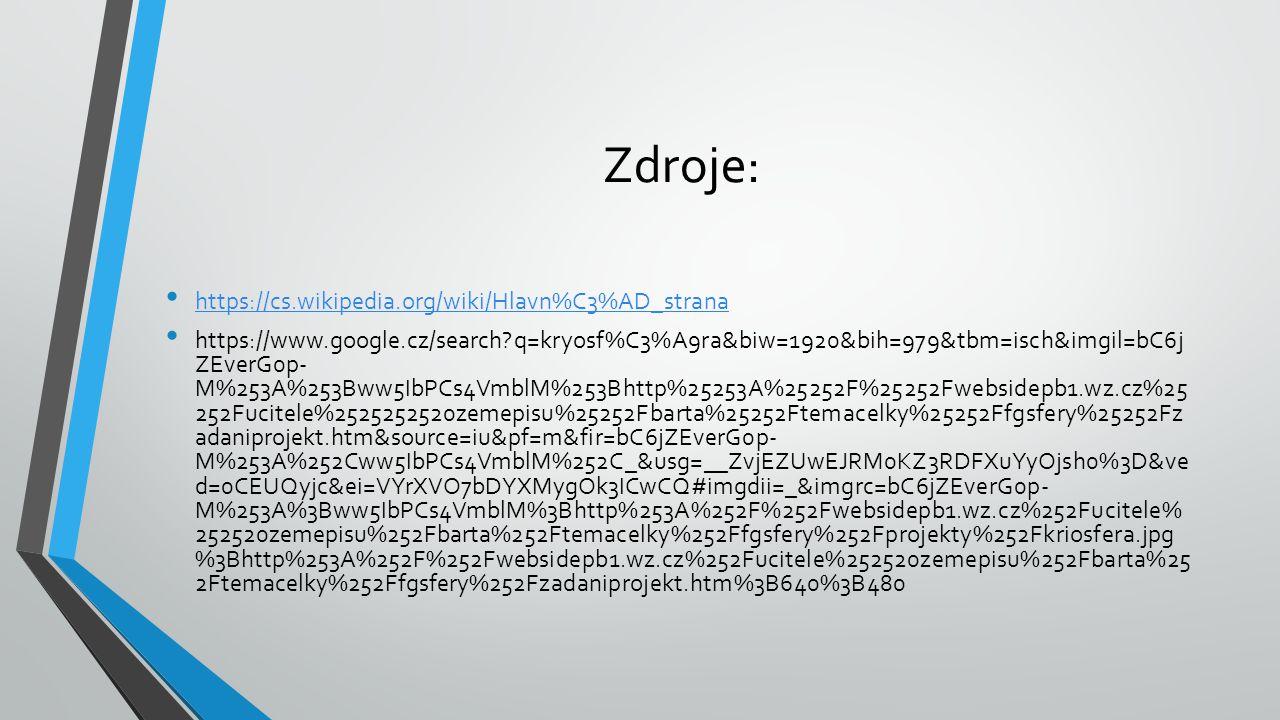 Zdroje: https://cs.wikipedia.org/wiki/Hlavn%C3%AD_strana https://www.google.cz/search?q=kryosf%C3%A9ra&biw=1920&bih=979&tbm=isch&imgil=bC6j ZEverG0p-