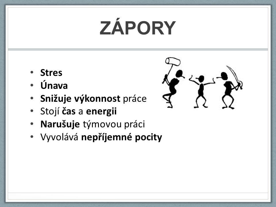 ZÁPORY Stres Únava Snižuje výkonnost práce Stojí čas a energii Narušuje týmovou práci Vyvolává nepříjemné pocity