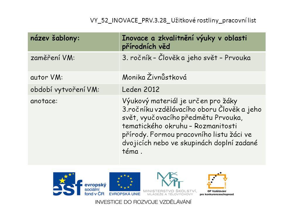 VY_52_INOVACE_PRV.3.28_ Užitkové rostliny_pracovní list název šablony:Inovace a zkvalitnění výuky v oblasti přírodních věd zaměření VM:3.