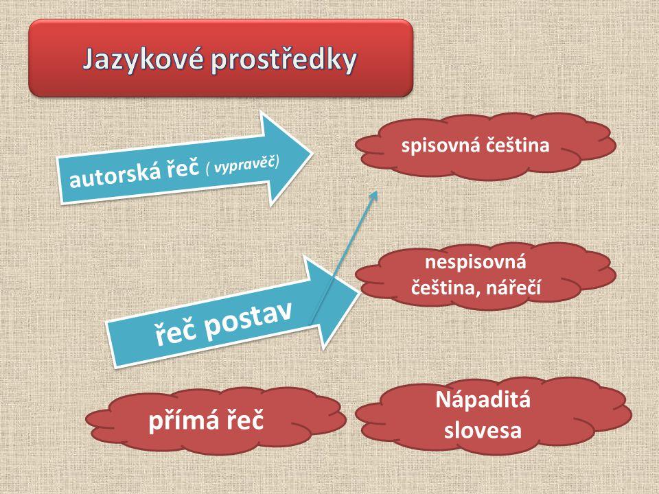 spisovná čeština přímá řeč nespisovná čeština, nářečí autorská řeč ( vypravěč) řeč postav Nápaditá slovesa