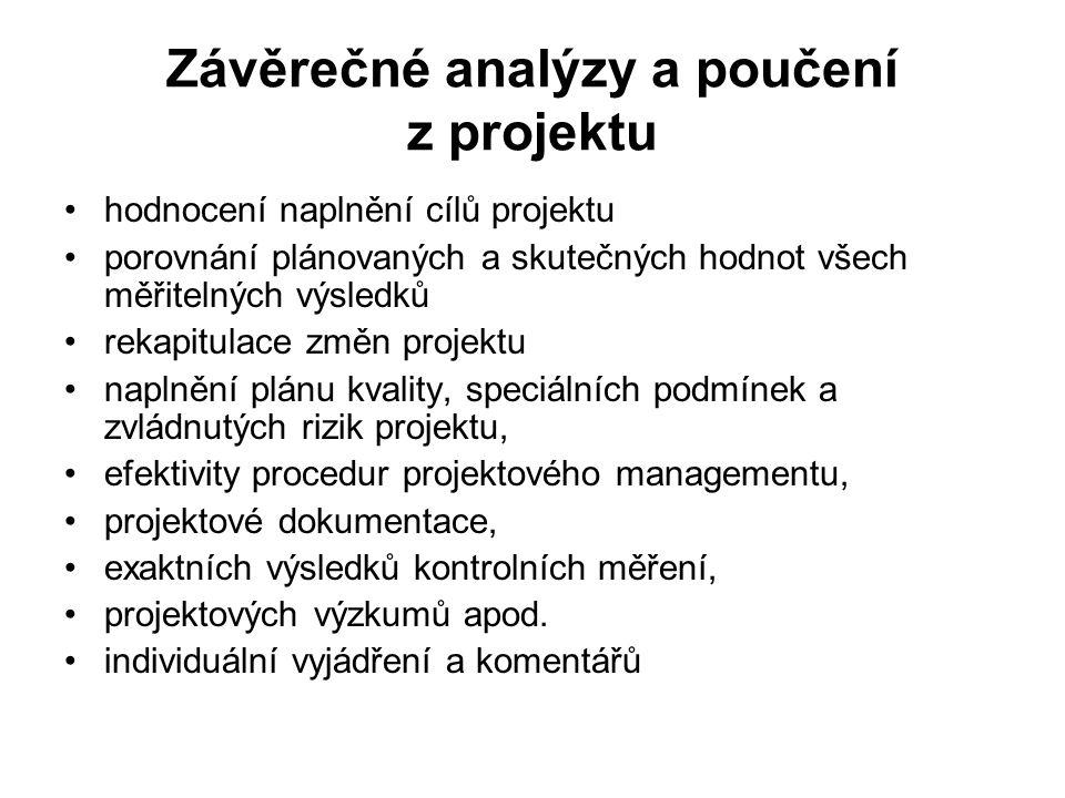 Závěrečné analýzy a poučení z projektu hodnocení naplnění cílů projektu porovnání plánovaných a skutečných hodnot všech měřitelných výsledků rekapitul