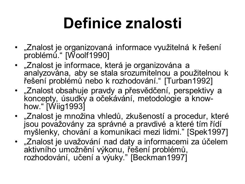 """Definice znalosti """"Znalost je organizovaná informace využitelná k řešení problémů."""" [Woolf1990] """"Znalost je informace, která je organizována a analyzo"""