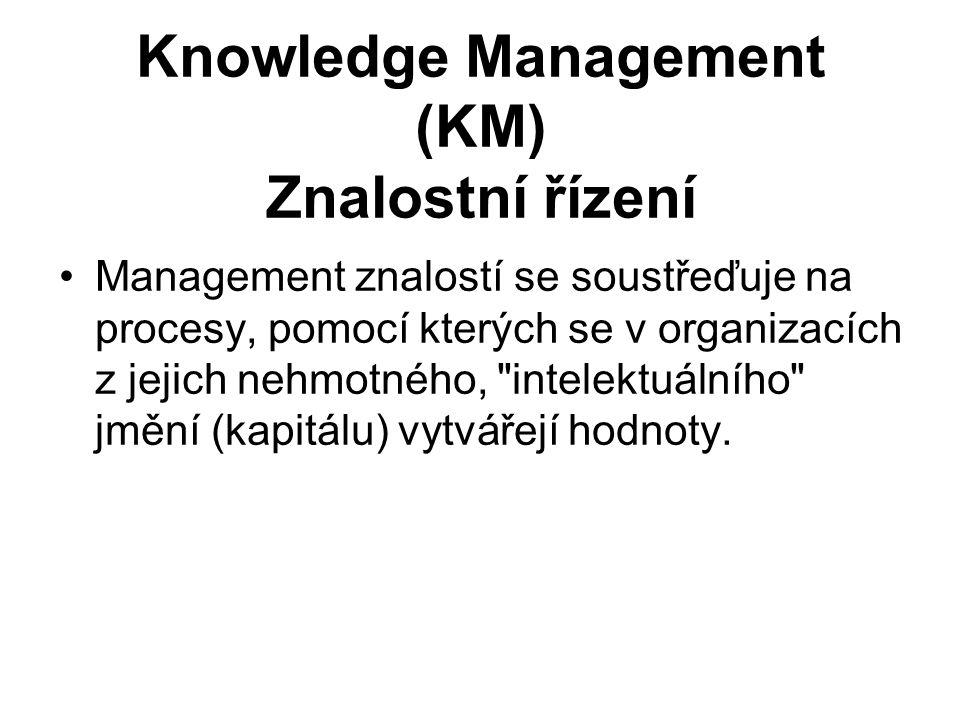 Knowledge Management (KM) Znalostní řízení Management znalostí se soustřeďuje na procesy, pomocí kterých se v organizacích z jejich nehmotného,