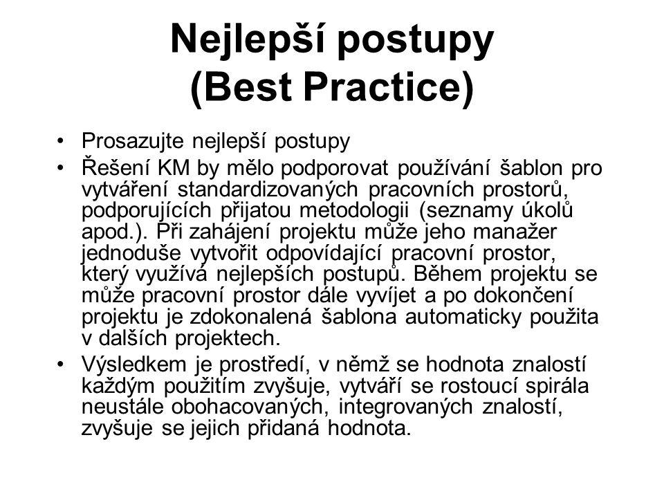 Nejlepší postupy (Best Practice) Prosazujte nejlepší postupy Řešení KM by mělo podporovat používání šablon pro vytváření standardizovaných pracovních