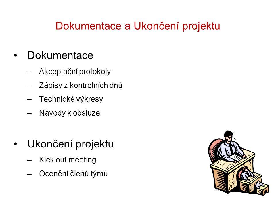 Dokumentace a Ukončení projektu Dokumentace –Akceptační protokoly –Zápisy z kontrolních dnů –Technické výkresy –Návody k obsluze Ukončení projektu –Ki