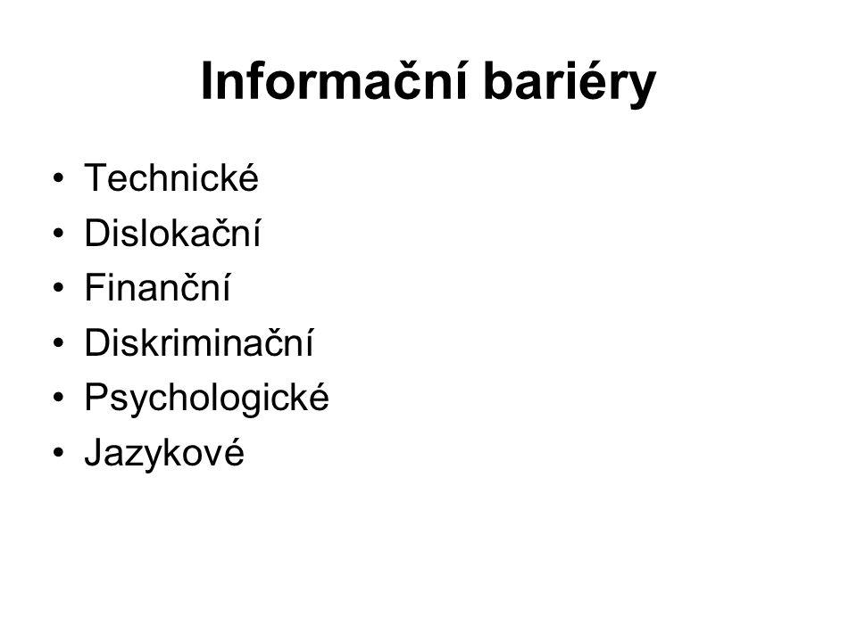 Informační bariéry Technické Dislokační Finanční Diskriminační Psychologické Jazykové