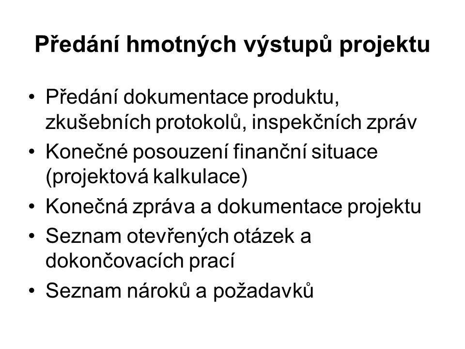 Předání hmotných výstupů projektu Předání dokumentace produktu, zkušebních protokolů, inspekčních zpráv Konečné posouzení finanční situace (projektová