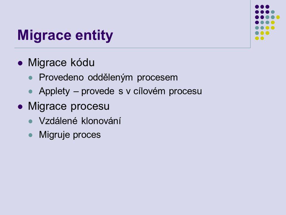 Migrace entity Migrace kódu Provedeno odděleným procesem Applety – provede s v cílovém procesu Migrace procesu Vzdálené klonování Migruje proces