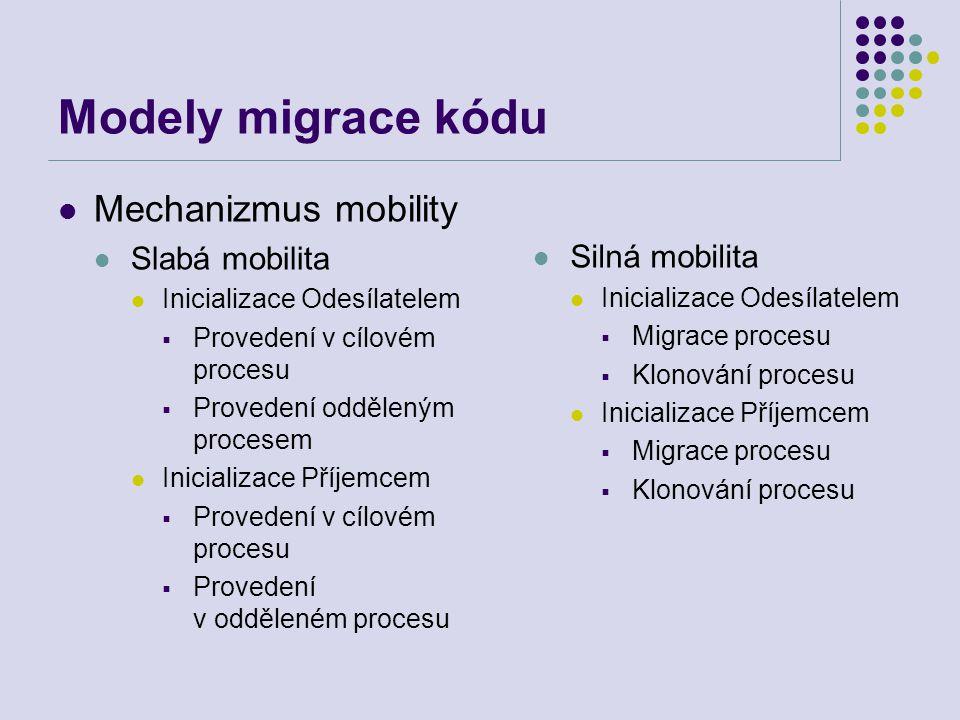 Modely migrace kódu Mechanizmus mobility Slabá mobilita Inicializace Odesílatelem  Provedení v cílovém procesu  Provedení odděleným procesem Inicializace Příjemcem  Provedení v cílovém procesu  Provedení v odděleném procesu Silná mobilita Inicializace Odesílatelem  Migrace procesu  Klonování procesu Inicializace Příjemcem  Migrace procesu  Klonování procesu