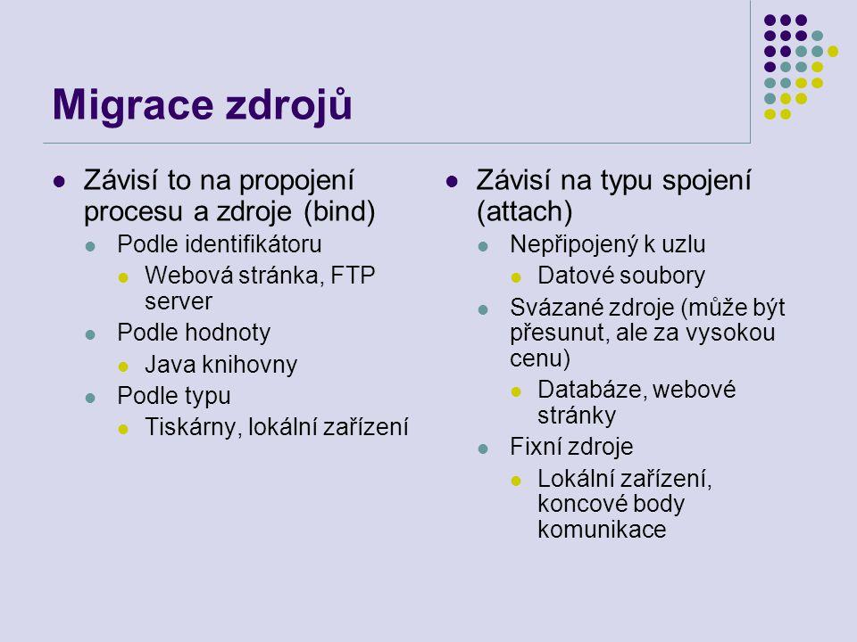 Migrace zdrojů Závisí to na propojení procesu a zdroje (bind) Podle identifikátoru Webová stránka, FTP server Podle hodnoty Java knihovny Podle typu Tiskárny, lokální zařízení Závisí na typu spojení (attach) Nepřipojený k uzlu Datové soubory Svázané zdroje (může být přesunut, ale za vysokou cenu) Databáze, webové stránky Fixní zdroje Lokální zařízení, koncové body komunikace