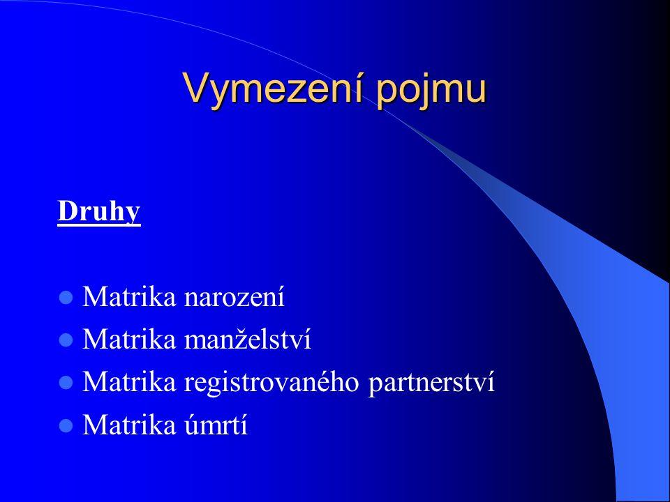 Vymezení pojmu Druhy Matrika narození Matrika manželství Matrika registrovaného partnerství Matrika úmrtí