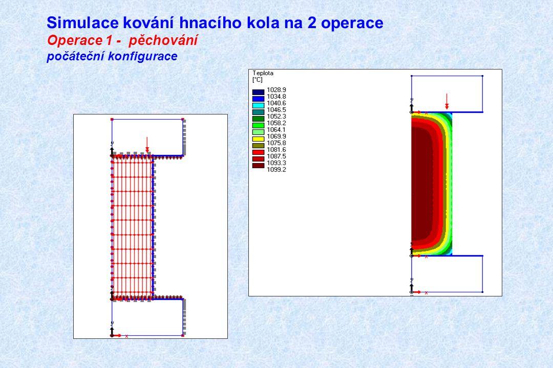 Simulace kování hnacího kola na 2 operace Operace 1 - pěchování počáteční konfigurace