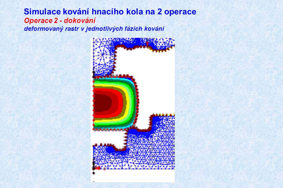 Simulace kování hnacího kola na 2 operace Operace 2 - dokování deformovaný rastr v jednotlivých fázích kování