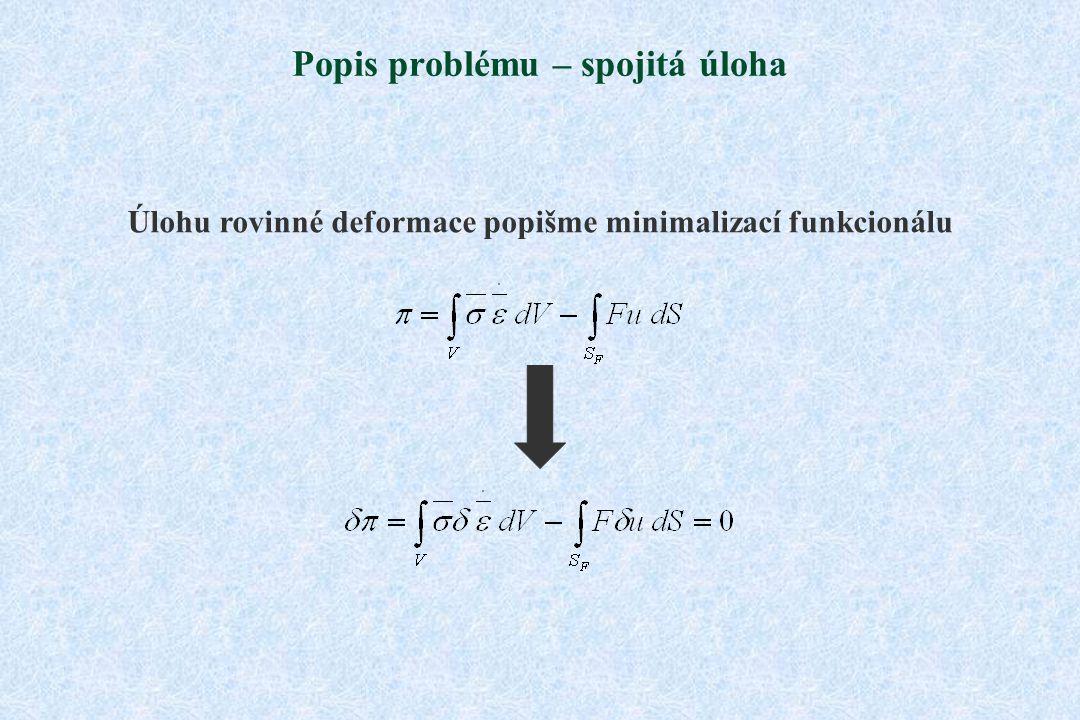 Popis problému – spojitá úloha Úlohu rovinné deformace popišme minimalizací funkcionálu