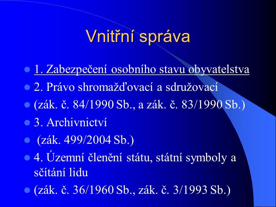 Vnitřní správa 1. Zabezpečení osobního stavu obyvatelstva 2. Právo shromažďovací a sdružovací (zák. č. 84/1990 Sb., a zák. č. 83/1990 Sb.) 3. Archivni
