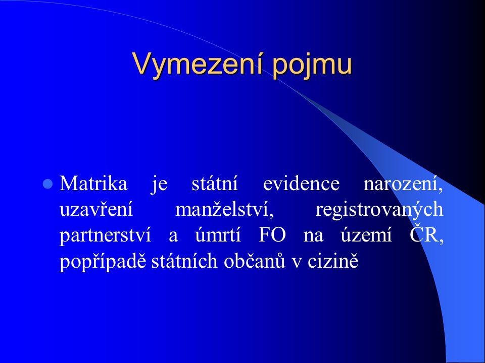 Vymezení pojmu Matrika je státní evidence narození, uzavření manželství, registrovaných partnerství a úmrtí FO na území ČR, popřípadě státních občanů