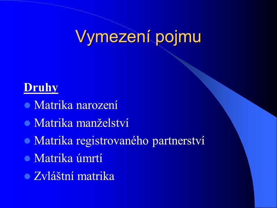 Vymezení pojmu Druhy Matrika narození Matrika manželství Matrika registrovaného partnerství Matrika úmrtí Zvláštní matrika