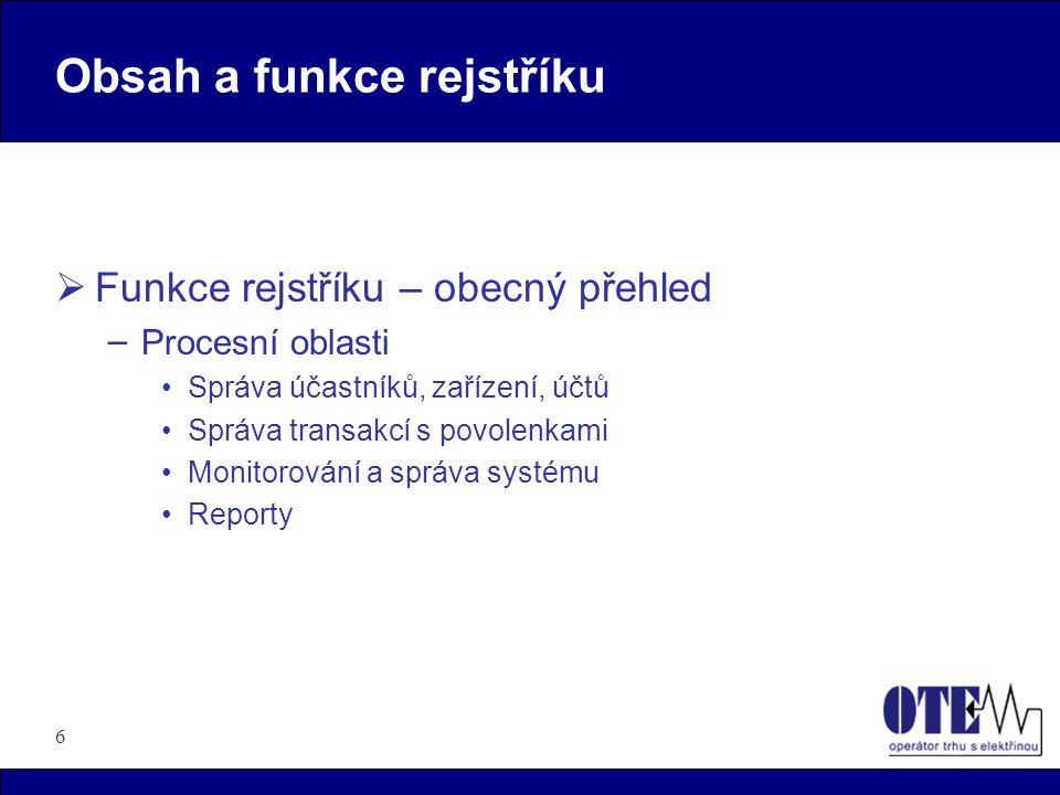 6 Obsah a funkce rejstříku  Funkce rejstříku – obecný přehled – Procesní oblasti Správa účastníků, zařízení, účtů Správa transakcí s povolenkami Moni