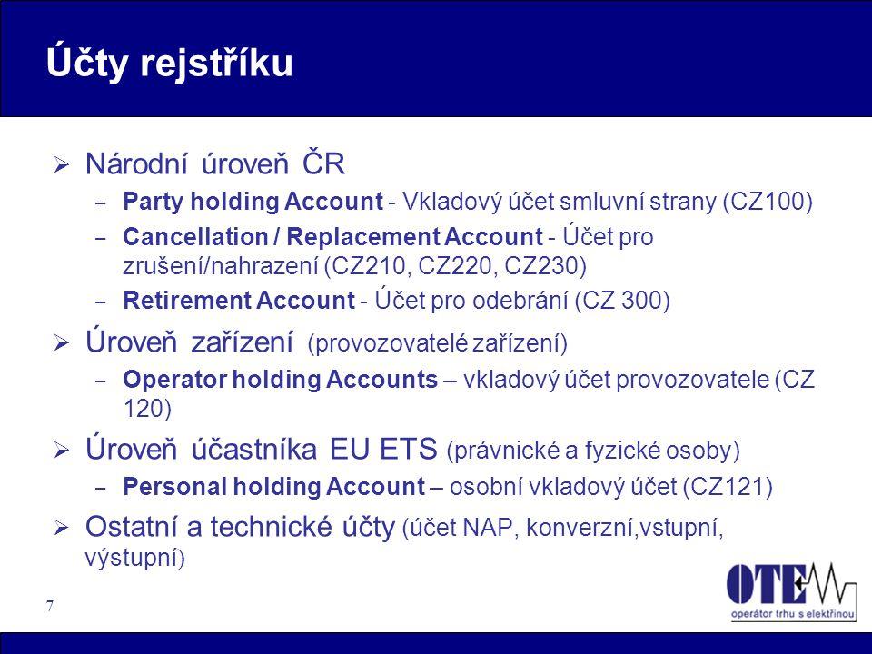 7 Účty rejstříku  Národní úroveň ČR – Party holding Account - Vkladový účet smluvní strany (CZ100) – Cancellation / Replacement Account - Účet pro zr