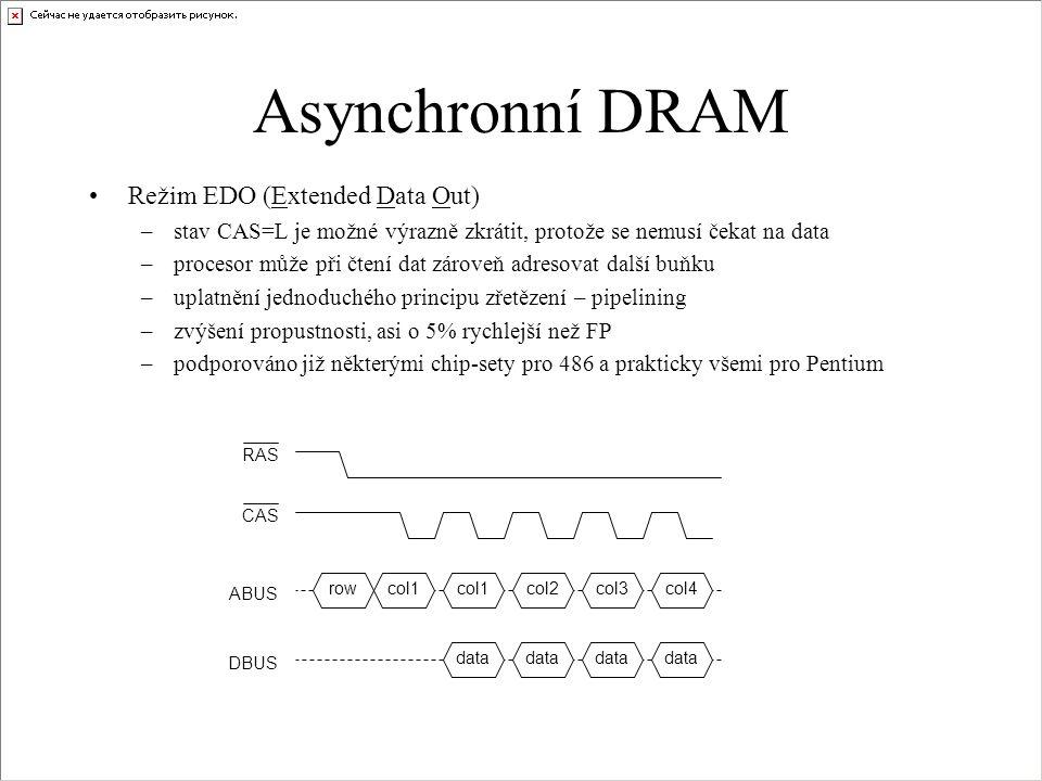 Asynchronní DRAM Režim EDO (Extended Data Out) –stav CAS=L je možné výrazně zkrátit, protože se nemusí čekat na data –procesor může při čtení dat zároveň adresovat další buňku –uplatnění jednoduchého principu zřetězení – pipelining –zvýšení propustnosti, asi o 5% rychlejší než FP –podporováno již některými chip-sety pro 486 a prakticky všemi pro Pentium