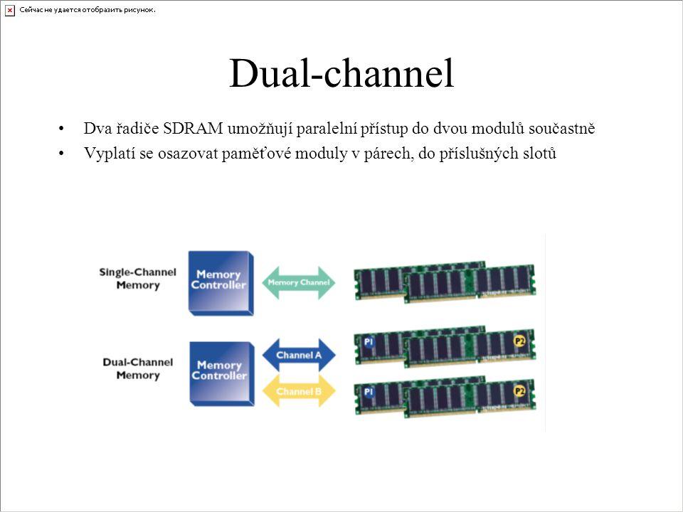 Dual-channel Dva řadiče SDRAM umožňují paralelní přístup do dvou modulů součastně Vyplatí se osazovat paměťové moduly v párech, do příslušných slotů