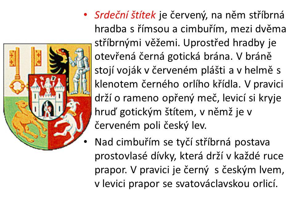 Srdeční štítek je červený, na něm stříbrná hradba s římsou a cimbuřím, mezi dvěma stříbrnými věžemi.