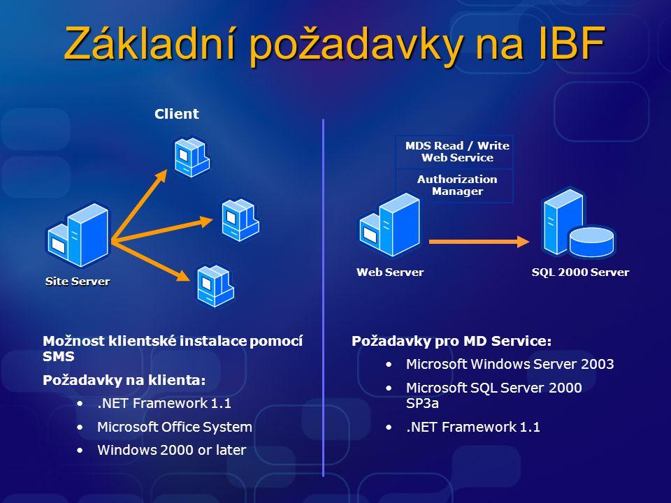 Základní požadavky na IBF MDS Read / Write Web Service Authorization Manager SQL 2000 ServerWeb Server Možnost klientské instalace pomocí SMS Požadavk