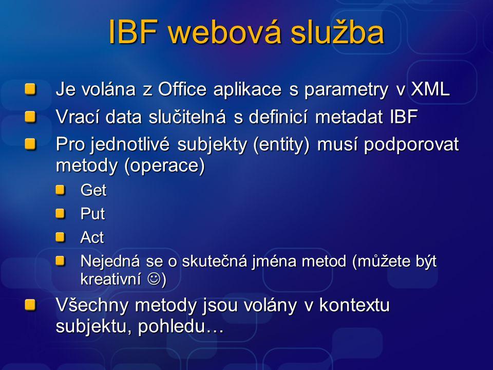 IBF webová služba Je volána z Office aplikace s parametry v XML Vrací data slučitelná s definicí metadat IBF Pro jednotlivé subjekty (entity) musí pod