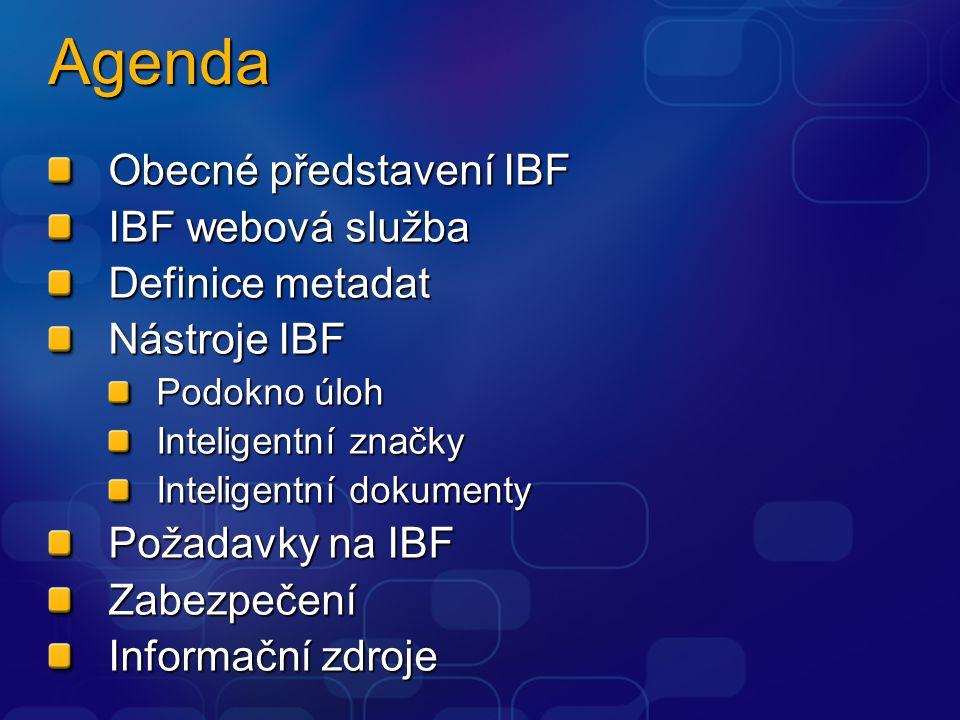 Agenda Obecné představení IBF IBF webová služba Definice metadat Nástroje IBF Podokno úloh Inteligentní značky Inteligentní dokumenty Požadavky na IBF Zabezpečení Informační zdroje