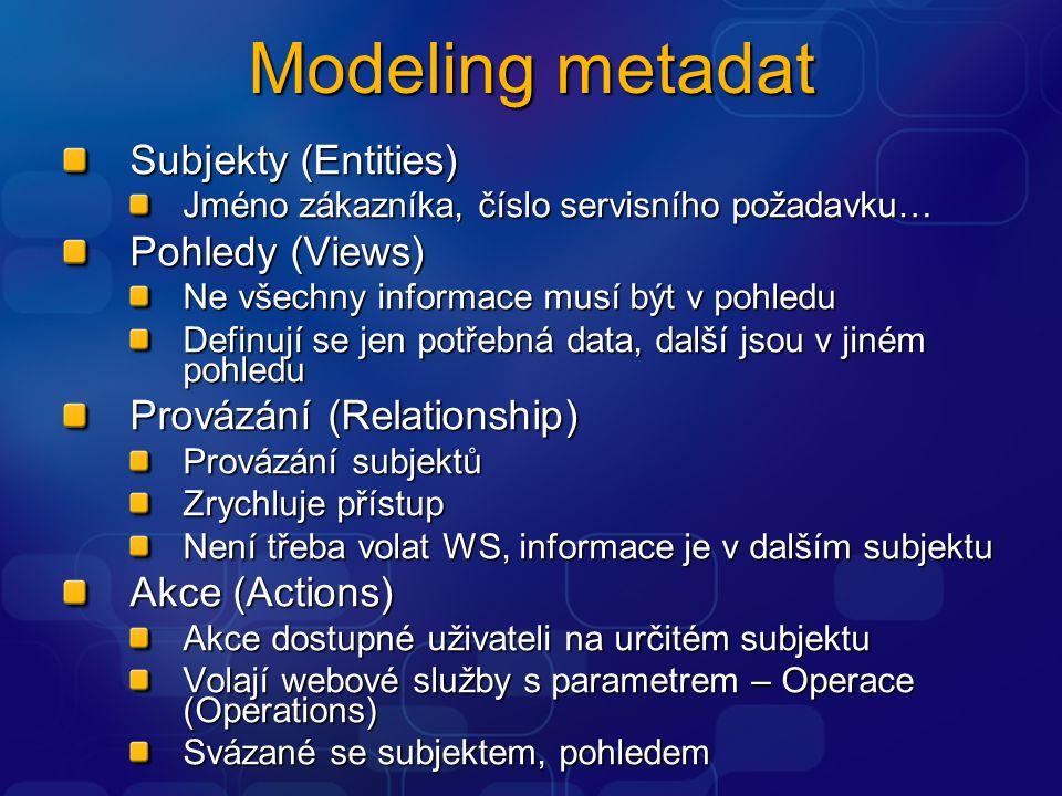 Modeling metadat Subjekty (Entities) Jméno zákazníka, číslo servisního požadavku… Pohledy (Views) Ne všechny informace musí být v pohledu Definují se jen potřebná data, další jsou v jiném pohledu Provázání (Relationship) Provázání subjektů Zrychluje přístup Není třeba volat WS, informace je v dalším subjektu Akce (Actions) Akce dostupné uživateli na určitém subjektu Volají webové služby s parametrem – Operace (Operations) Svázané se subjektem, pohledem