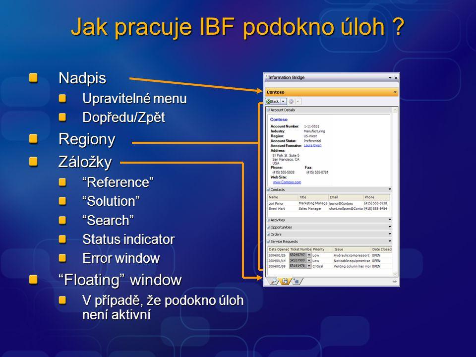 Nadpis Upravitelné menu Dopředu/Zpět RegionyZáložky Reference Solution Search Status indicator Error window Floating window V případě, že podokno úloh není aktivní Jak pracuje IBF podokno úloh