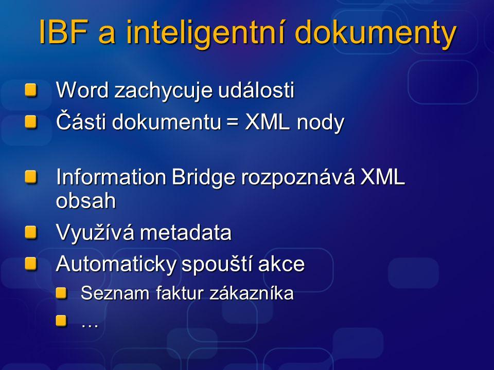IBF a inteligentní dokumenty Word zachycuje události Části dokumentu = XML nody Information Bridge rozpoznává XML obsah Využívá metadata Automaticky s