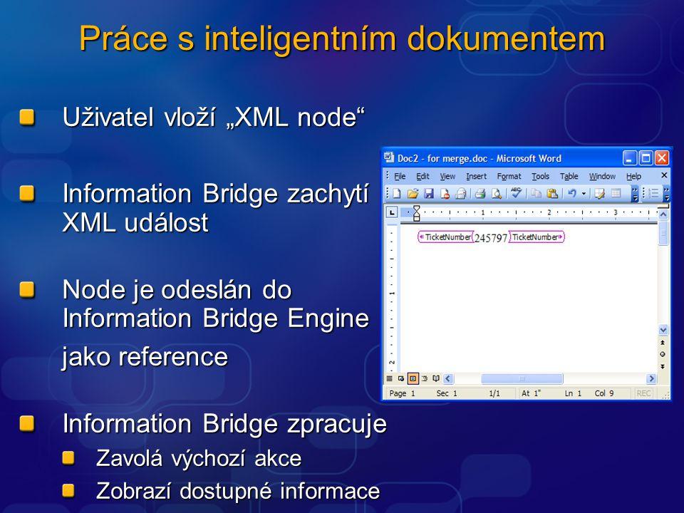 """Uživatel vloží """"XML node Information Bridge zachytí XML událost Node je odeslán do Information Bridge Engine jako reference Information Bridge zpracuje Zavolá výchozí akce Zobrazí dostupné informace Práce s inteligentním dokumentem"""