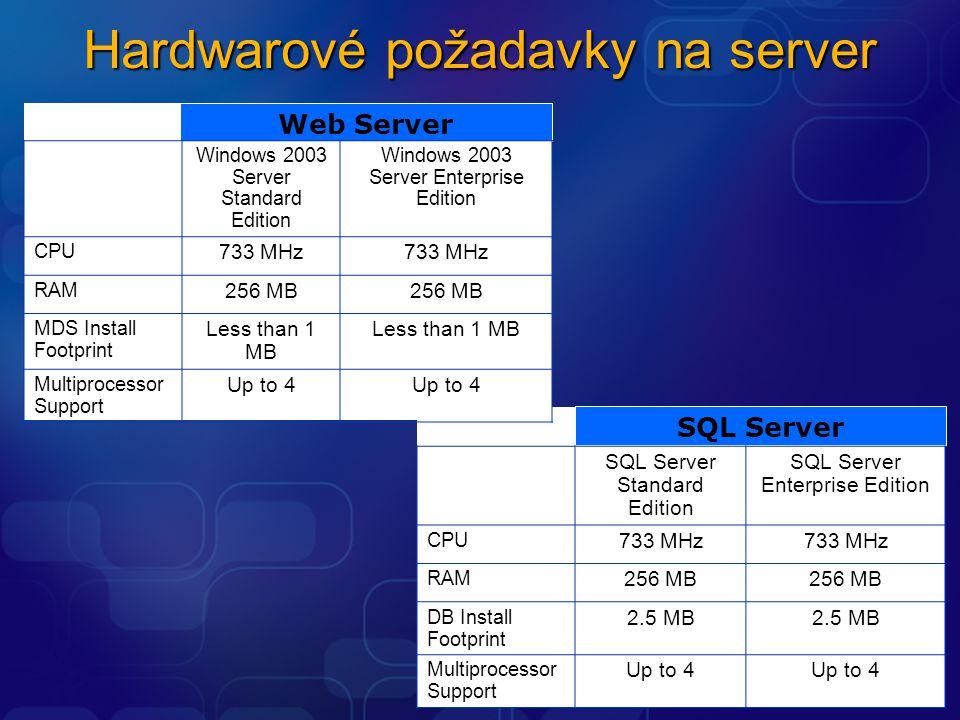 Web Server Windows 2003 Server Standard Edition Windows 2003 Server Enterprise Edition CPU 733 MHz RAM 256 MB MDS Install Footprint Less than 1 MB Mul