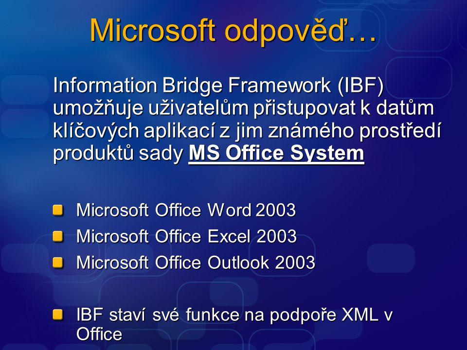Microsoft odpověď… Information Bridge Framework (IBF) umožňuje uživatelům přistupovat k datům klíčových aplikací z jim známého prostředí produktů sady MS Office System Microsoft Office Word 2003 Microsoft Office Excel 2003 Microsoft Office Outlook 2003 IBF staví své funkce na podpoře XML v Office