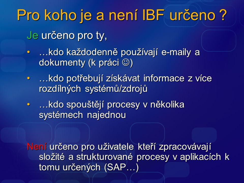 Pro koho je a není IBF určeno ? Je určeno pro ty, …kdo každodenně používají e-maily a dokumenty (k práci )…kdo každodenně používají e-maily a dokument