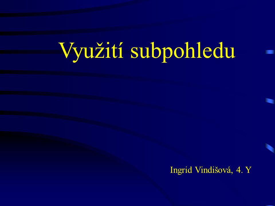 Využití subpohledu Ingrid Vindišová, 4. Y