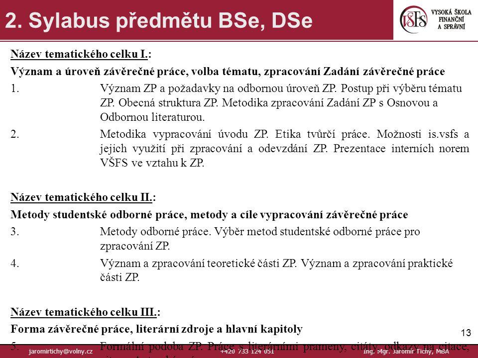 13 jaromirtichy@volny.cz+420 733 124 051Ing.Mgr. Jaromír Tichý, MBA 2.