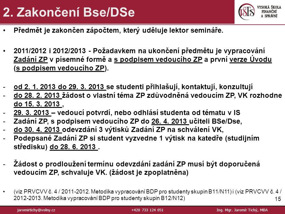 15 jaromirtichy@volny.cz+420 733 124 051Ing.Mgr. Jaromír Tichý, MBA 2.