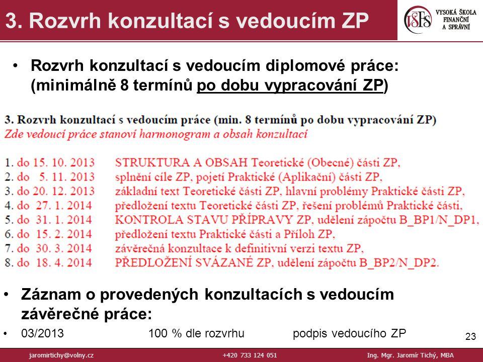 23 3.Rozvrh konzultací s vedoucím ZP jaromirtichy@volny.cz+420 733 124 051Ing.